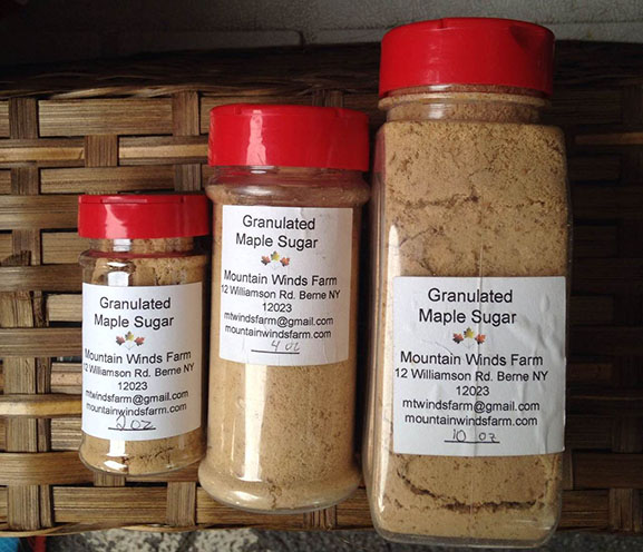 containers of granulated maple sugar